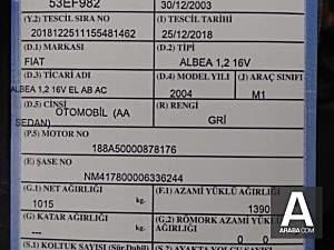 Fiat Albea 1.2 16V BOYASIZ DEGİŞENSİZ